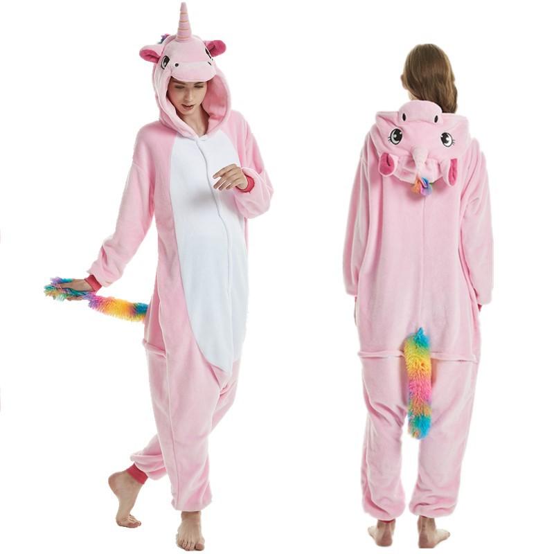 Unisex Adult Pajamas Unicorn Colorfur Tail Animal Cosplay Costume Pajamas