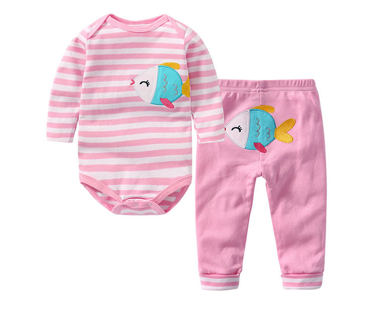 Baby Girl Print Cute Fish Two Pieces Long Sleeve Cotton Bodysuit and Pant