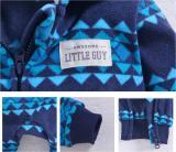 Baby Boy Hooded Zip-Up Geometric Stripes Polar Fleece Long Sleeve One piece