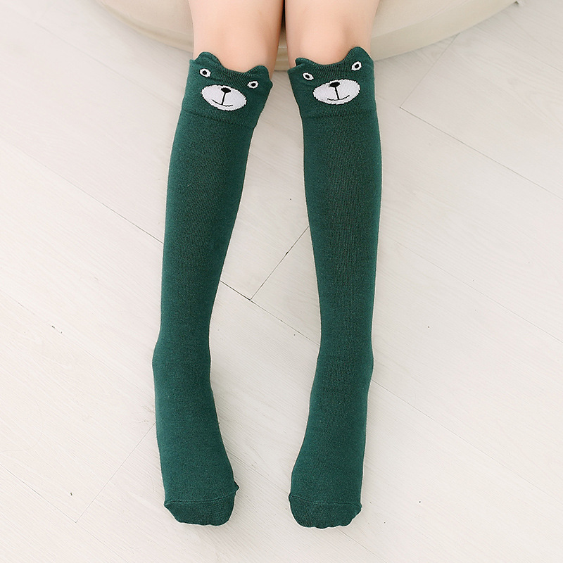 Baby Toddler Girls Knee-high Green Bear Cartoon Animal Tube Stocking