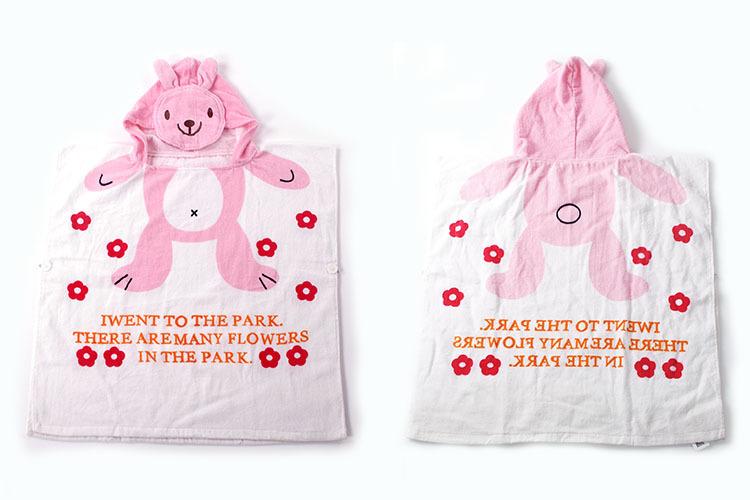 Baby White Rabbit Face Hooded Bathrobe Towel Bathrobe Cloak
