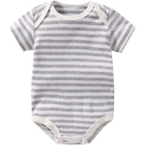 Baby Boy Grey Stripes Short Sleeve Cotton Bodysuit