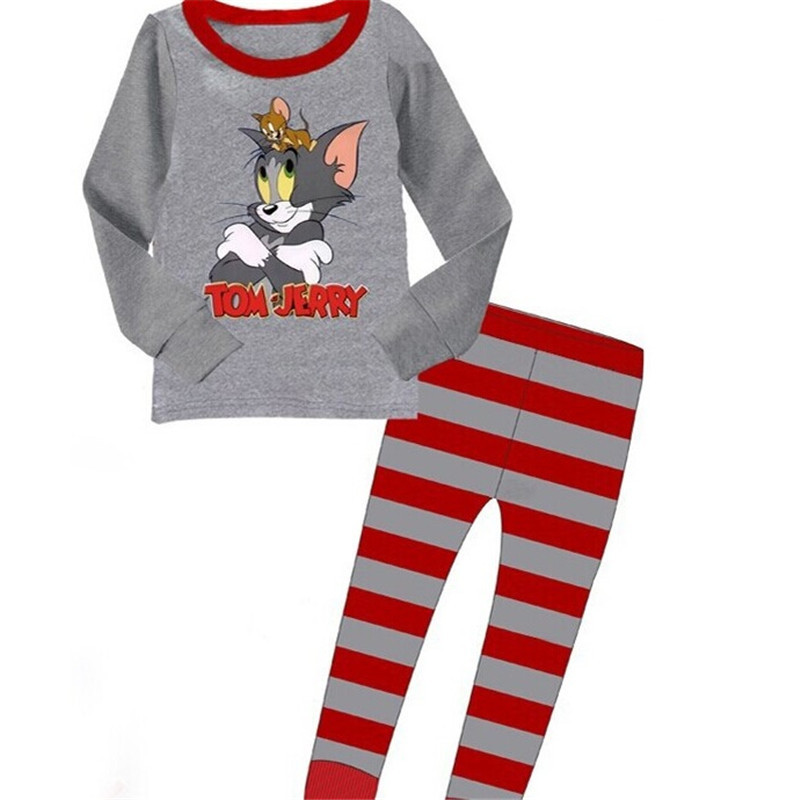 Toddler Boy 2 Pieces Pajamas Sleepwear Cat and Mouse Long Sleeve Shirt & Legging Sets