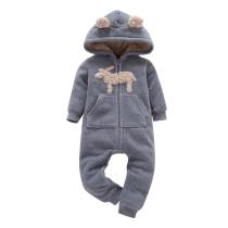 Baby Boy Zip-Up Grey Sheep Polar Fleece Long Sleeve One piece