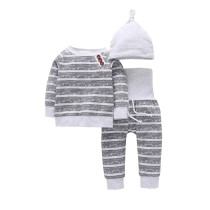 3PCS Baby Boy Grey Stripes Long Sleeve Romper Print Pants Bodysuit Hat Clothes Outfits Set