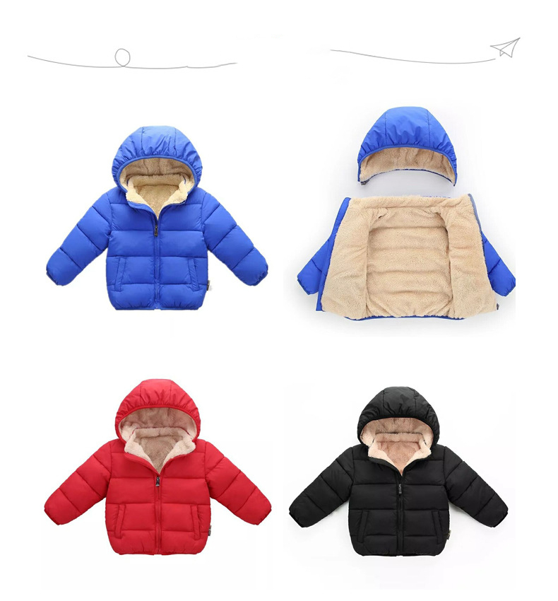 Toddler Boy Zipper Thicken Hooded Jacket Outerwear