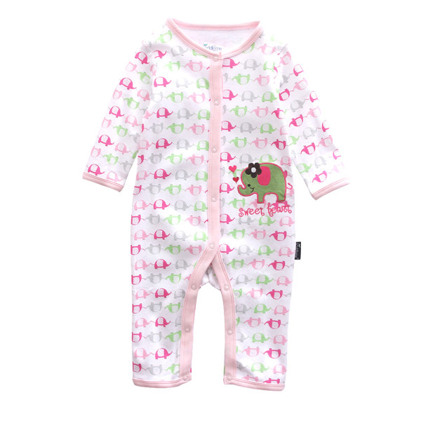Baby Girl Snap-Up Print 3 Color Elephants Cotton Long Sleeve One piece