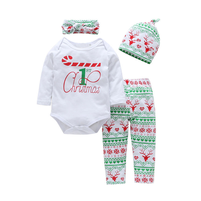 4PCS Baby Girl Christmas Long Sleeve Romper Pants Bodysuit Hat Headband Clothes Outfits Set