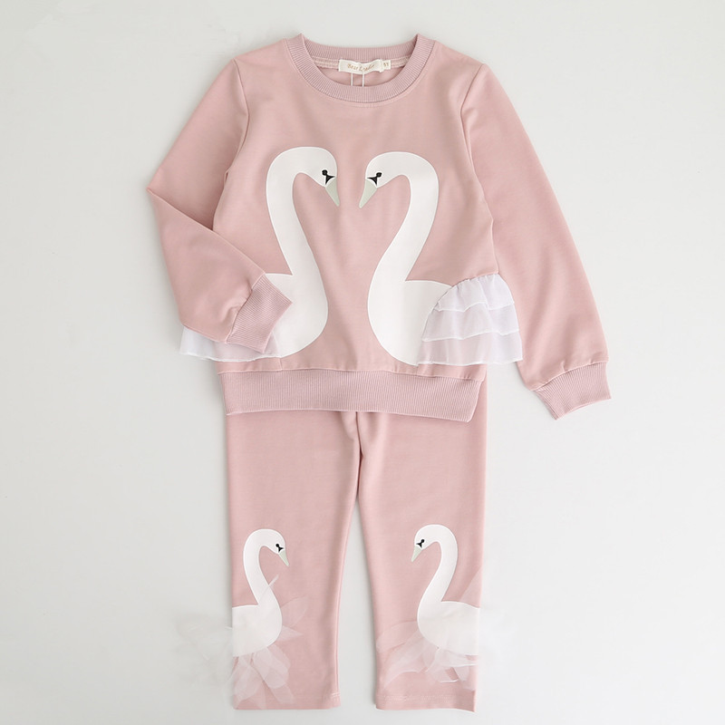 Toddler Girl 2 Pieces Two Swans Long Sleeve Sweatshirt and Pants Clothes Set Outfit