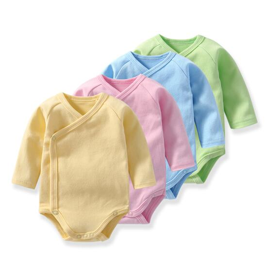 Baby Girl Pure Color Snaps Up Side Long Sleeve Cotton Bodysuit