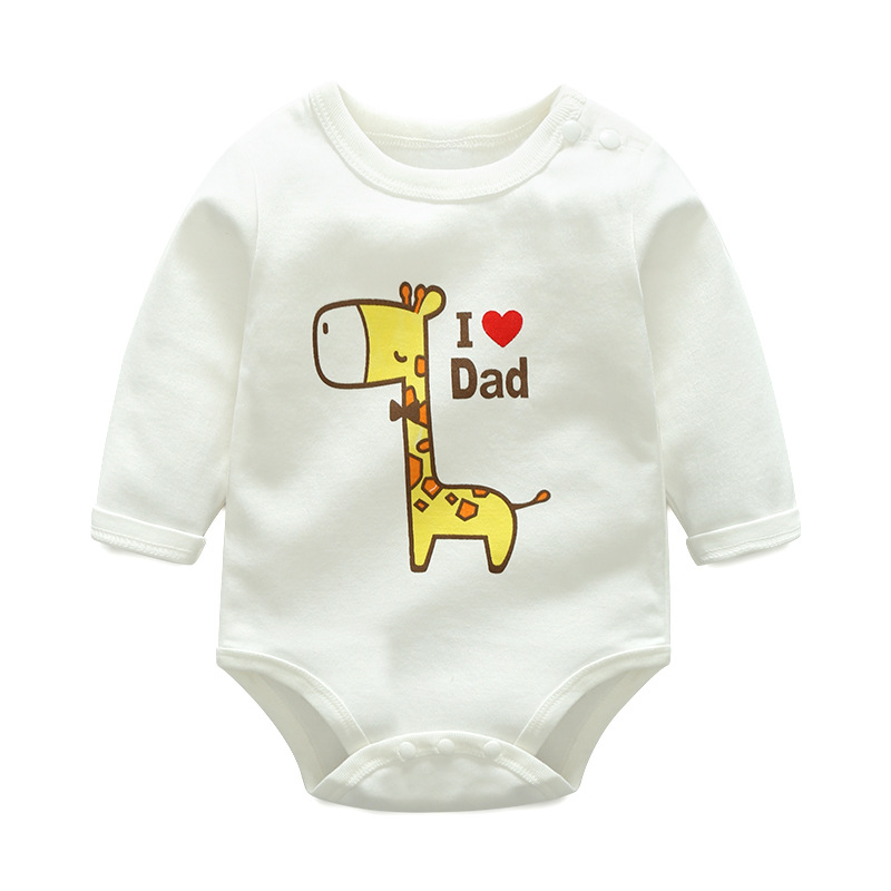 Baby Girl Print Giraffe Cotton Long Sleeve Bodysuit