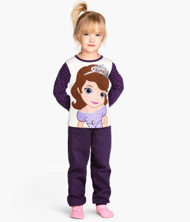 Toddler Girl 2 Pieces Pajamas Sleepwear Princess Long Sleeve Shirt & Leggings Set