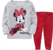 Toddler Girl 2 Pieces Pajamas Sleepwear Grey Minnie Long Sleeve Shirt & Leggings Set