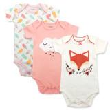 Baby Girl Print Fox Short Sleeve Cotton Bodysuit