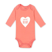 Baby Girl Pink Print Sweet Heart Long Sleeve Cotton Bodysuit