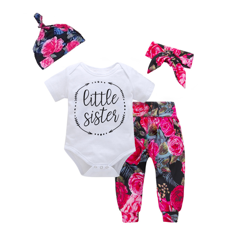 3PCS Baby Girl Flowers Long Sleeve Romper Pants Bodysuit Hat Clothes Outfits Set