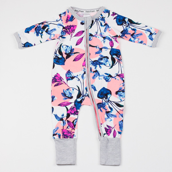 Baby Girl Zip-Up Print Pink Flower Cotton Long Sleeve One piece