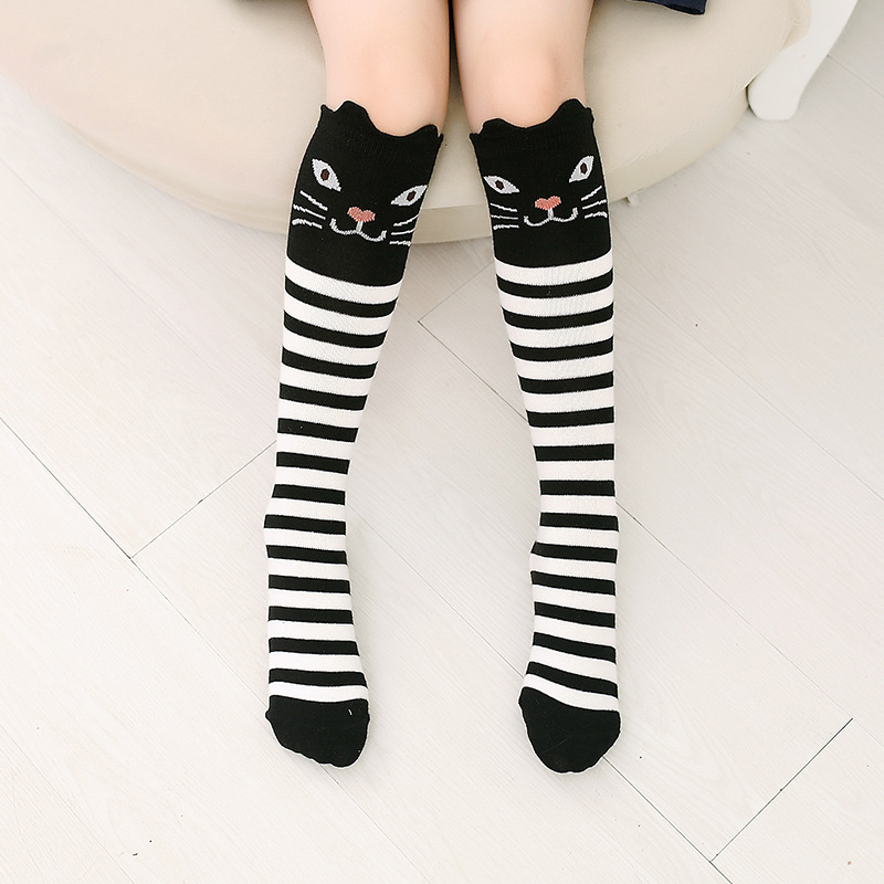 Baby Toddler Girls Knee-high Stripes Black Cat Cartoon Animal Tube Stocking
