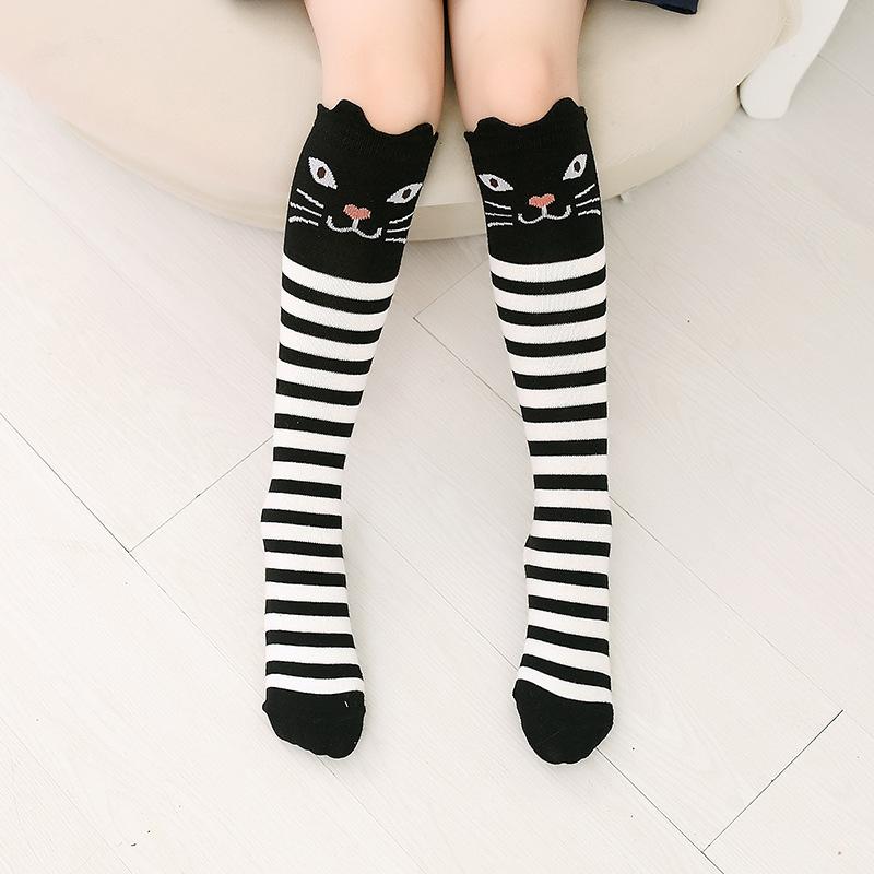 Baby Toddler Girls Knee-high Stripes Black Cat Cartoon Animal Tube Stocking