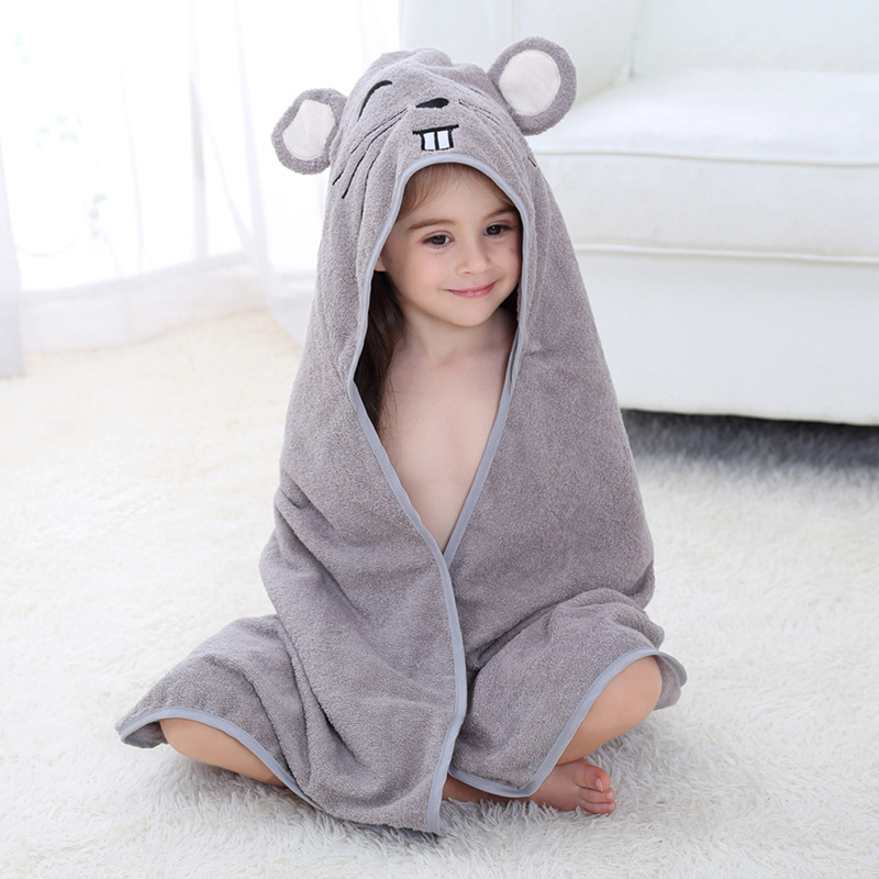 Baby Grey Mouse Face Hooded Bathrobe Towel Bathrobe Cloak Size 28 *55