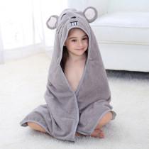 Baby Grey Mouse Face Hooded Bathrobe Towel Bathrobe Cloak Size 28 *55