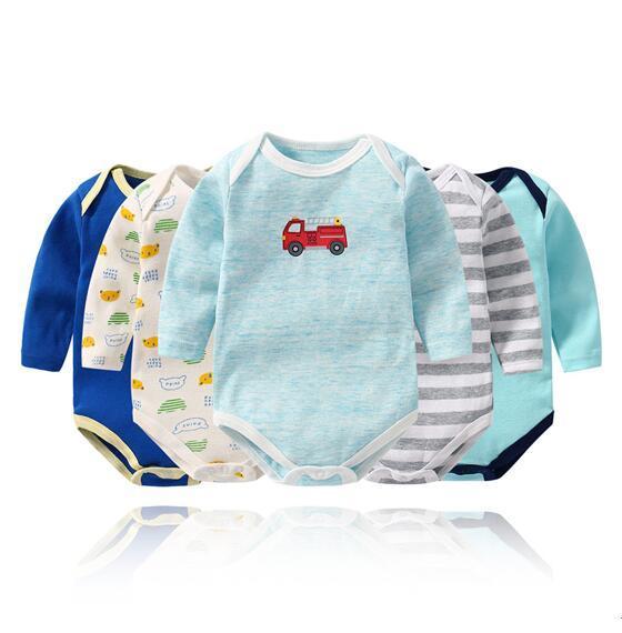 Baby Boy Print Stripes 5 Packs Long Sleeve Cotton Bodysuit