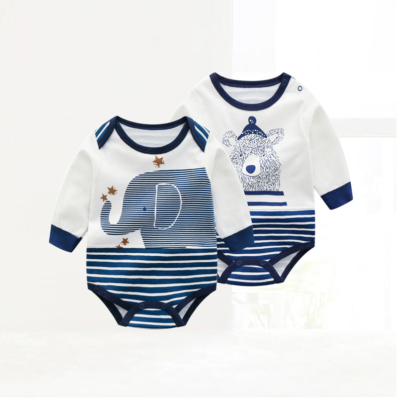 Baby Boy Stripes Elephant Long Sleeve Cotton Bodysuit