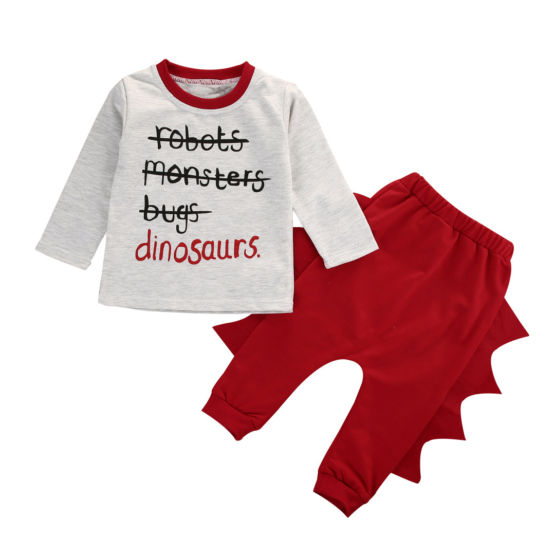 Baby Boy Print Slogan Dinosaur Long Sleeve T-shirt and Pants Clothes Outfits Set