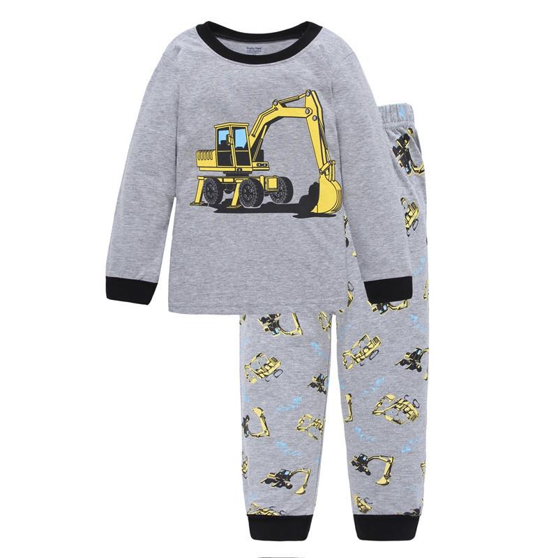 Toddler Boy 2 Pieces Pajamas Sleepwear Vehicle Long Sleeve Shirt & Legging Sets