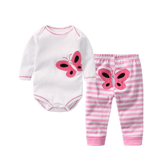 Baby Girl Print Butterfly Two Pieces Long Sleeve Cotton Bodysuit and Pant