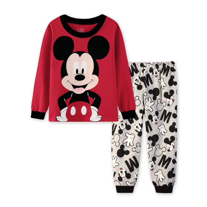 Toddler Boy 2 Pieces Pajamas Sleepwear Red Mickey Long Sleeve Shirt & Legging Sets