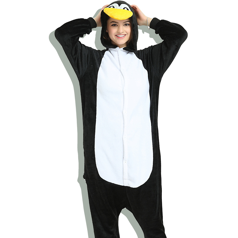 Unisex Adult Pajamas Black Penguin Animal Cosplay Costume Pajamas