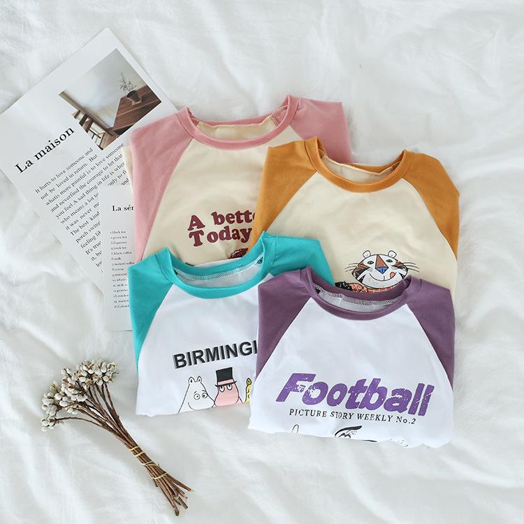 Toddler Girl Slogan and Print Cartoon Tee Color Matching Cotton Long Sleeve T-shirt