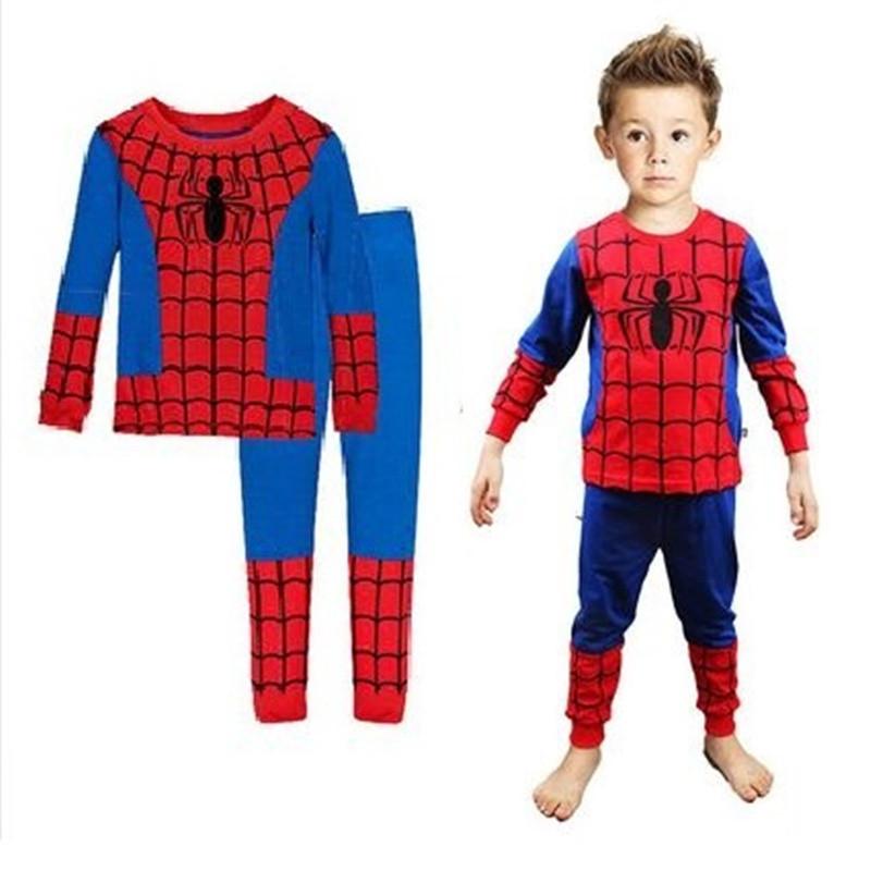 Toddler Boy 2 Pieces Pajamas Sleepwear Spider Man Long Sleeve Shirt & Leggings Set