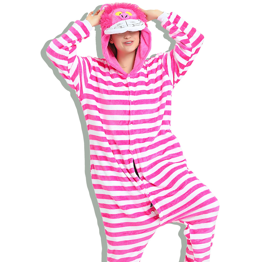 Unisex Adult Pajamas Pink Cheshire cat Animal Cosplay Costume Pajamas
