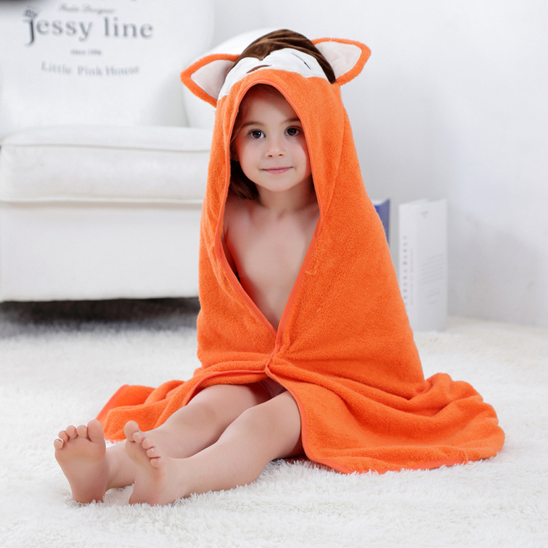 Baby Orange Fox Face Hooded Bathrobe Towel Bathrobe Cloak Size 28 *55