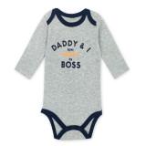 Baby Boy Print Slogan Long Sleeve Cotton Bodysuit