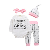 4PCS Baby Girl Print Arrow Long Sleeve Romper Pants Bodysuit Hat Headband Clothes Outfits Set