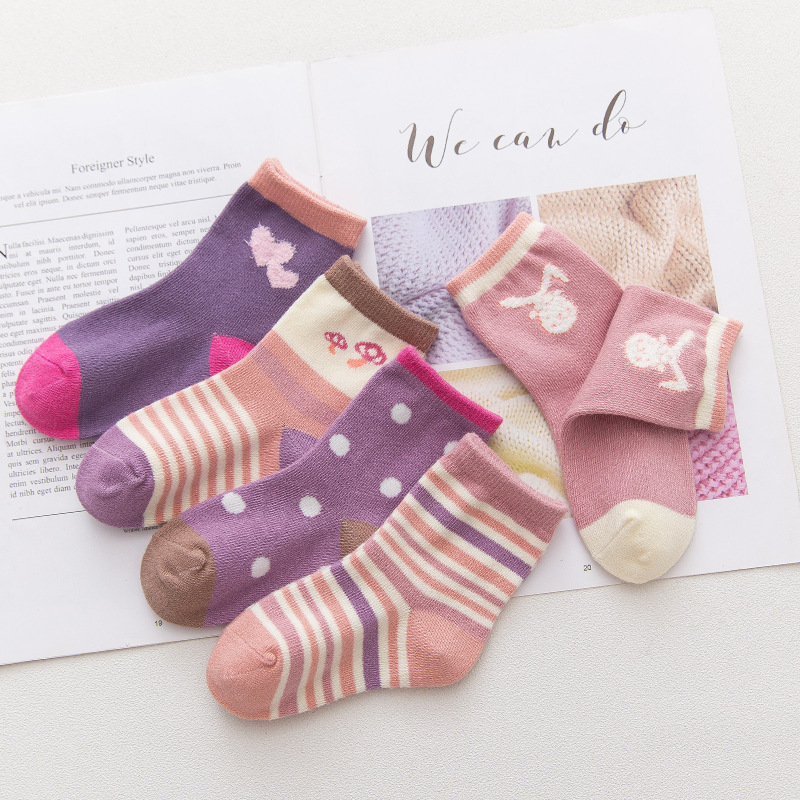 5 Pairs Baby Toddler Girls Print Slogan Socks