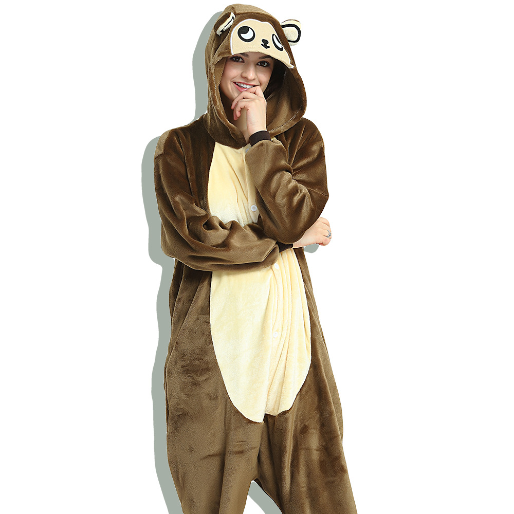 Unisex Adult Pajamas Brown Monkey Animal Cosplay Costume Pajamas
