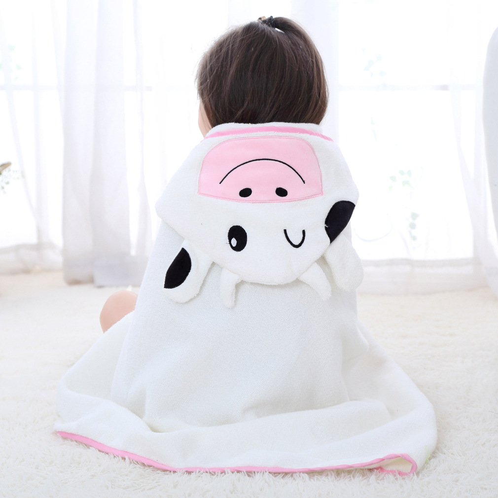 Baby White Cow Face Hooded Bathrobe Towel Bathrobe Cloak Size 28 *55