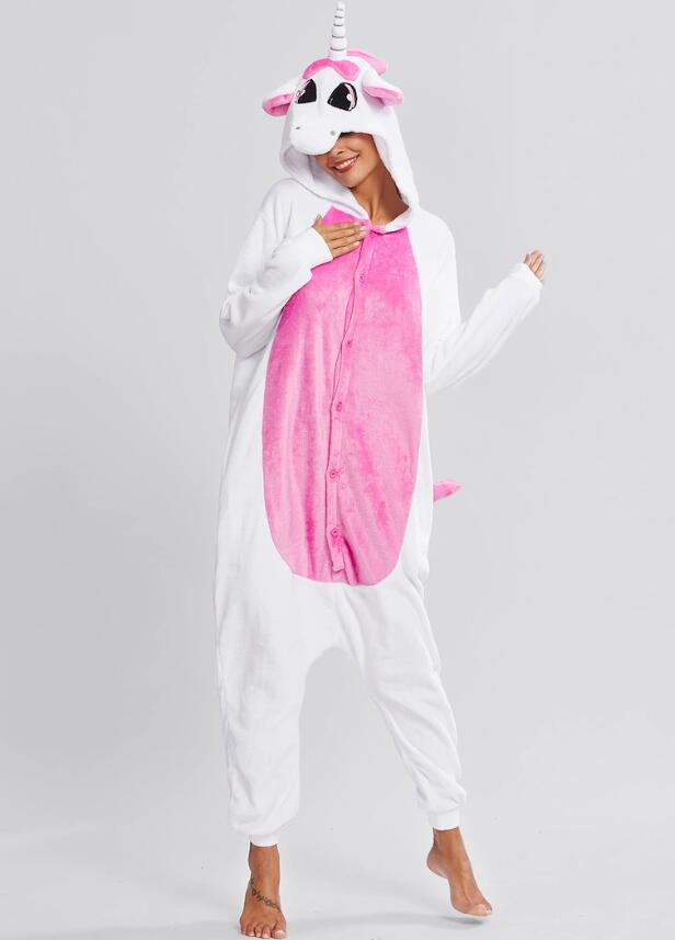 Unisex Adult Pajamas White Unicorn Animal Cosplay Costume Pajamas