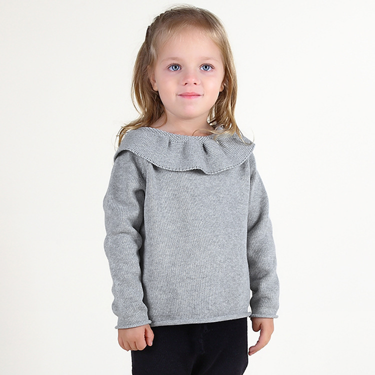 Toddler Girl Knit Pullover Ruffled Collar Sweater