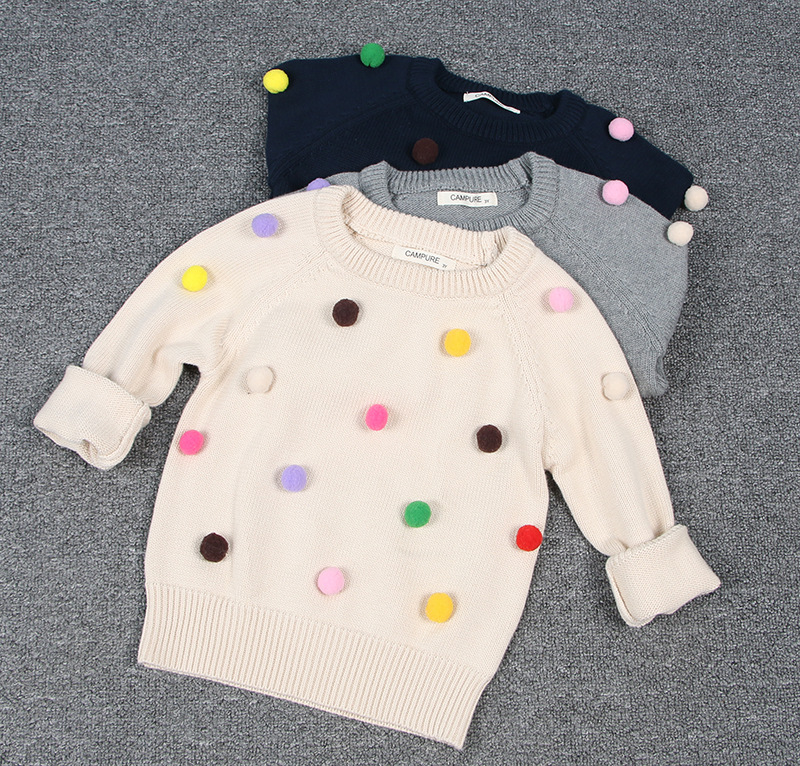 Toddler Girl Knit Pullover Pompom Sweater