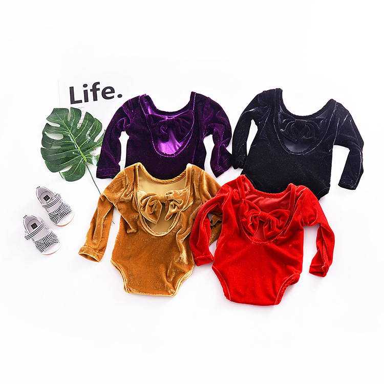 Baby Girl Pure Colors Bowknot Velvet Long Sleeve Bodysuit