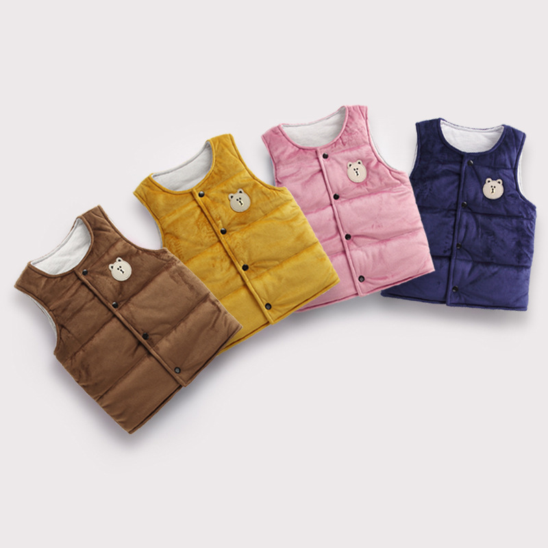 Toddler Girl Thicken Warm Velvet Vests