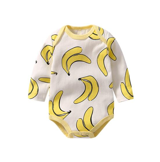 Baby Girl Print Bananas Long Sleeve Cotton Bodysuit