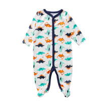 Baby Boy Dinosaur Footed Pajamas Sleepwear Cotton Infant One-piece(0-1Year)