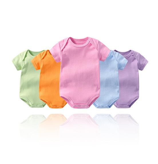 Baby Girl Pure Color Short Sleeve Cotton Bodysuit