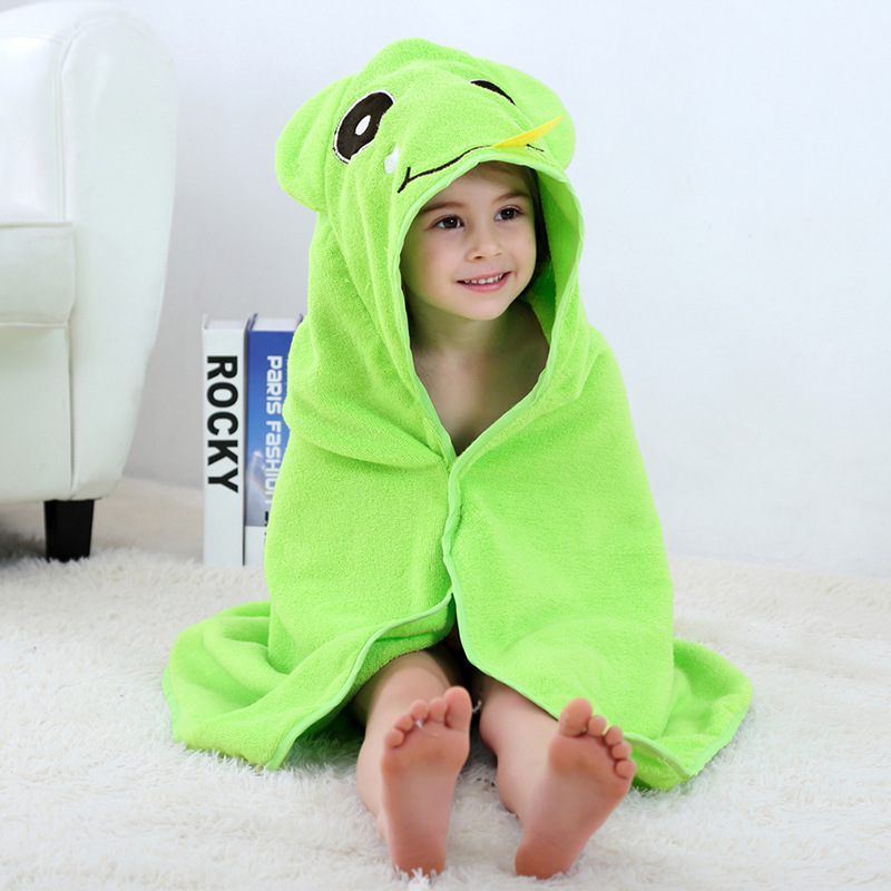 Baby Green Frog Face Hooded Bathrobe Towel Bathrobe Cloak Size 28 *55